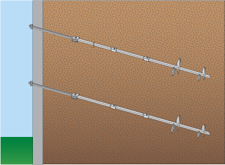 Helical Tieback Anchors To Straighten Wall